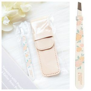 Summer & Rose Floral Angled Tweezers With Pouch